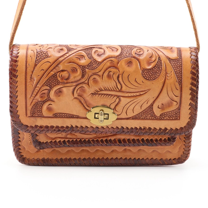 Tooled Leather Shoulder Bag with Foliates and Whipstitching, Vintage