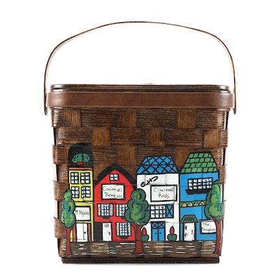 "Caro-Nan ""McAlpins"" Cincinnati-Themed Painted Wooden Basket Bag, 1970s Vintage"