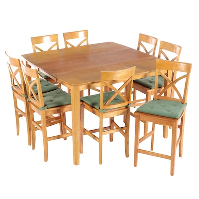 Contemporary Blonde Wood Counter Height Dining Set with Internal Leaf