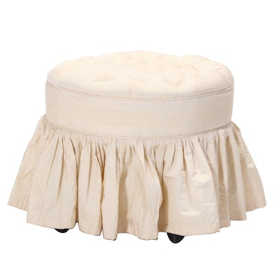 Button-Tufted and Rolling Vanity Stool, 20th Century