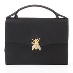 Morris Moskowitz Bee Embellished Black Handbag, Vintage