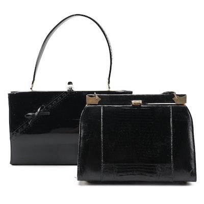 Life Stride Patent Leather Handbag with Lizard Skin Frame Purse