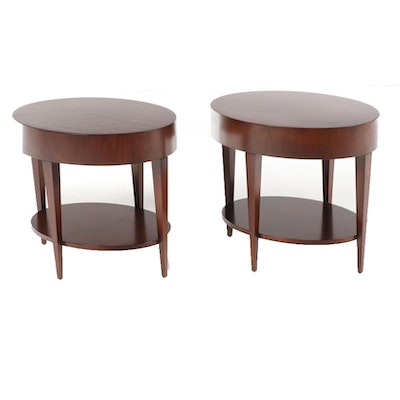 "HBF Contemporary Modern Walnut ""Catalina"" Side Tables"