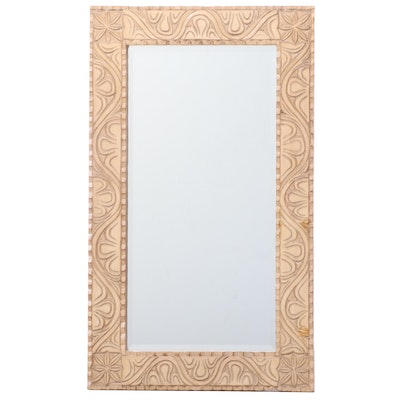 Contemporary Painted Wood Beveled Glass Wall Mirror