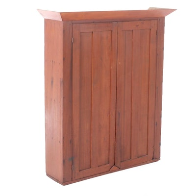 American Primitive Poplar Blind Cabinet Case, 19th Century