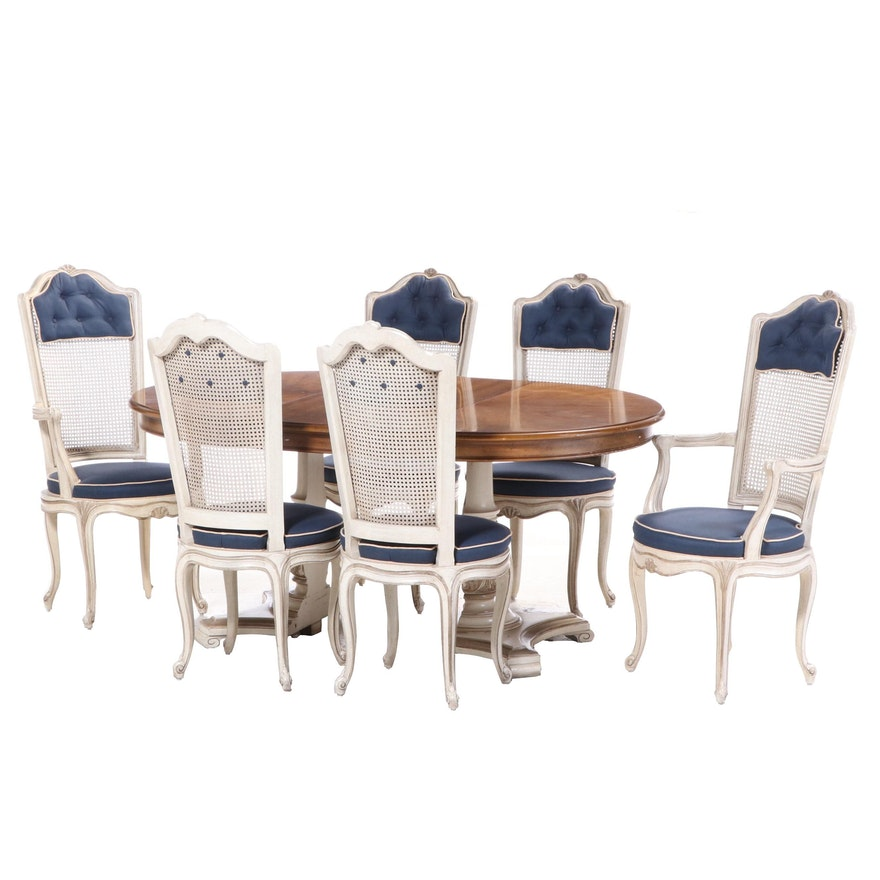 Henredon French Provincial Style Cherrywood and Parcel-Painted Dining Suite