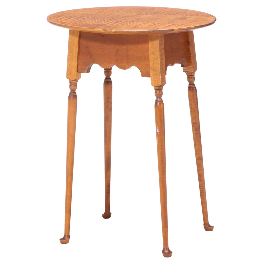 Queen Anne Style Tiger Maple Side Table