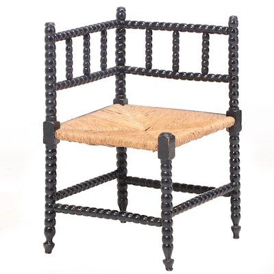 English Ebonized Oak & Bobbin-Turned Corner Chair, Late 19th/Early 20th Century