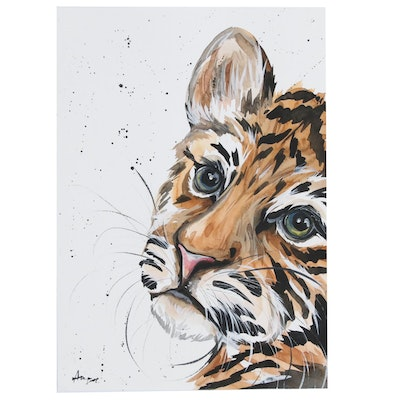 Anne Gorywine Watercolor of a Tiger, 2020