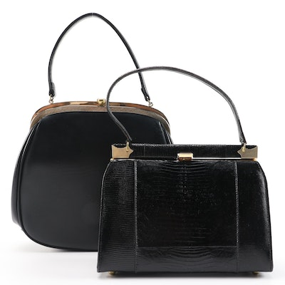 Theodor and Other Black Leatherette and Lizard Skin Handbags