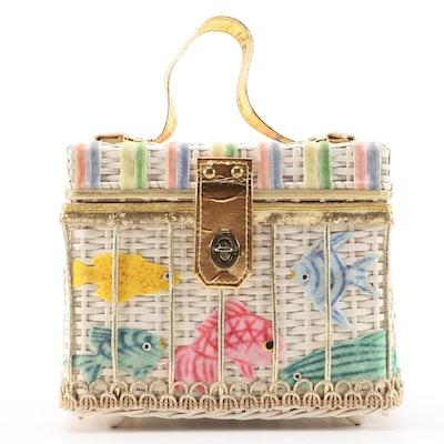 Magid Handmade Wicker Basket Handbag with Velveteen Ribbon and Fish Appliqué