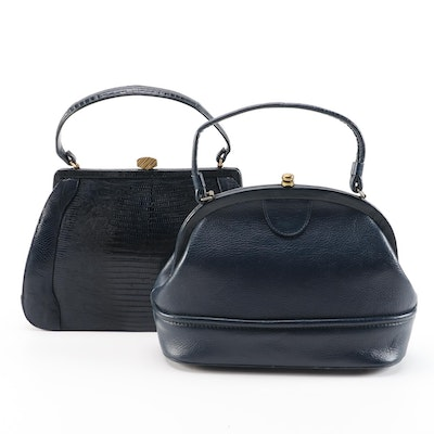 Palizzio Lizard Skin and and Other Navy Leather Handbags