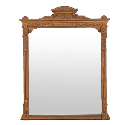 Aesthetic Movement Carved Wood and Plaster Gilt Wall Mirror, Late 19th Century