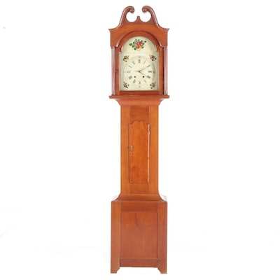 Cherrywood Tall Case Clock with Polychrome-Decorated Dial, 19th Century