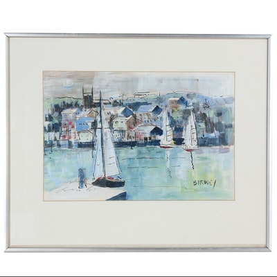 Alfred Birdsey Harbor Scene Oil Painting, 20th Century