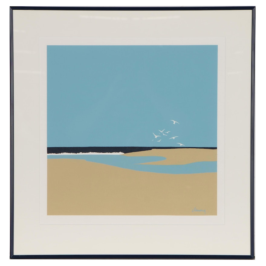 Phyllis Demong Serigraph Beach Landscape with Seagulls, Late 20th century