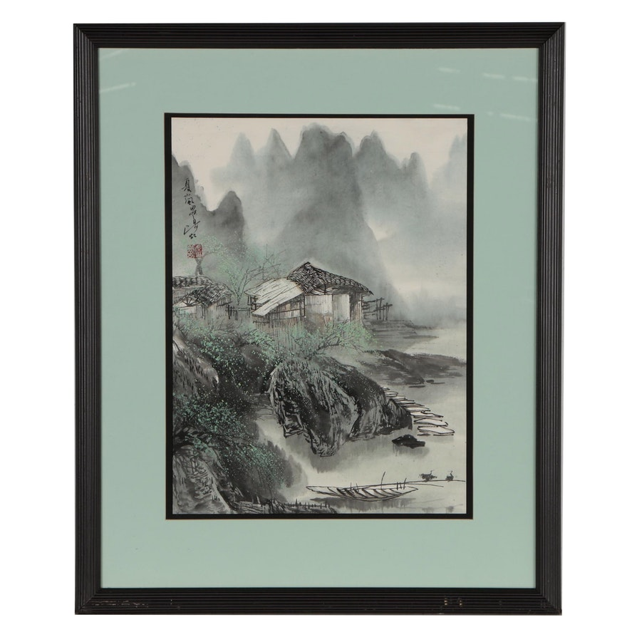 Japanese Watercolor and Gouache Painting of Mountain Village Landscape