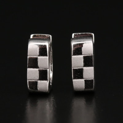 Sterling Silver Checkered Huggie Earrings