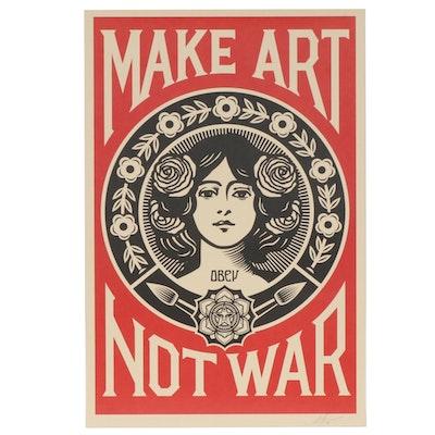"""Shepard Fairey Offset Print Poster """"Make Art Not War"""", 2020"""
