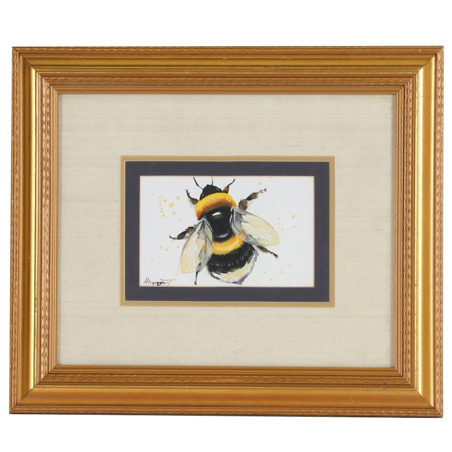 Anne Gorywine Bee Watercolor Painting, 21st Century