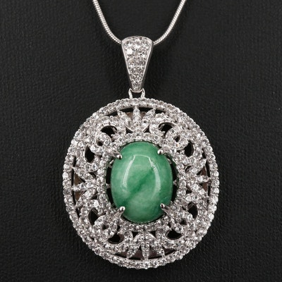 Sterling Silver Green Beryl and White Sapphire Openwork Pendant Necklace