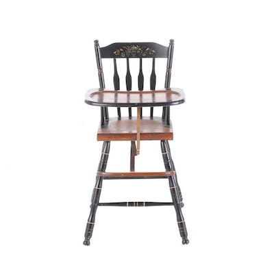 Lambert Hitchcock Style Child's Stenciled and Ebonized Wood High Chair