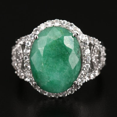 Sterling Silver Emerald and White Sapphire Ring
