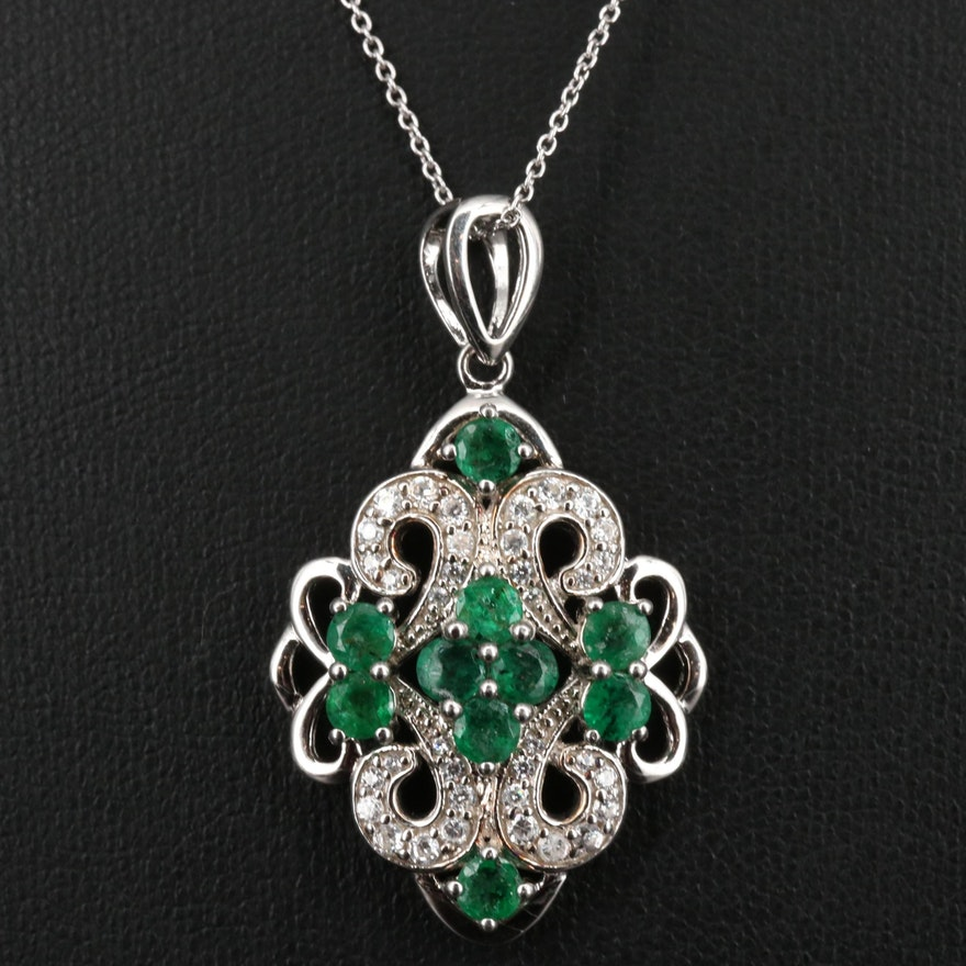 Sterling Silver Emerald and Cubic Zirconia Pendant Necklace