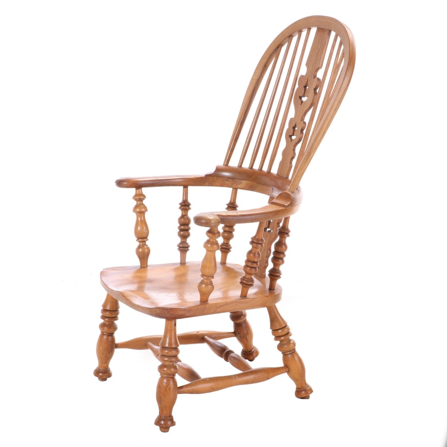 Windsor Style Oak Arm Chair, Mid to Late 20th Century
