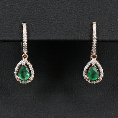 14K Emerald and Diamond Pear Drop Earrings