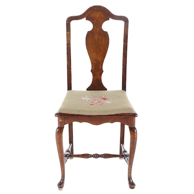 Mahogany Finish Fiddle Back Needlepoint Upholstered Side Chair