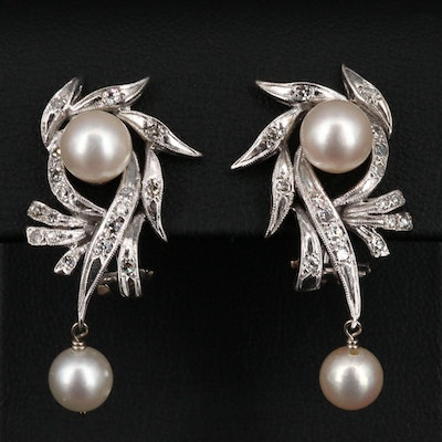 Vintage 14K Pearl and Diamond Earrings