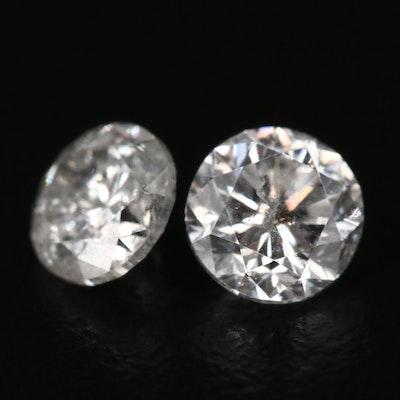 Match Pair of Loose 1.37 CTW Round Brilliant Cut Diamonds