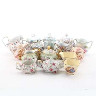Porcelain and Bone China Creamers and Sugar Bowls Including Spode and Lefton