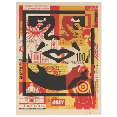 "Shepard Fairey Offset Print Poster ""OBEY 3-Face Collage"", 2020"