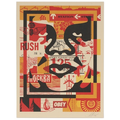 """Shepard Fairey Offset Print """"OBEY 3-Face Collage"""", 2020"""