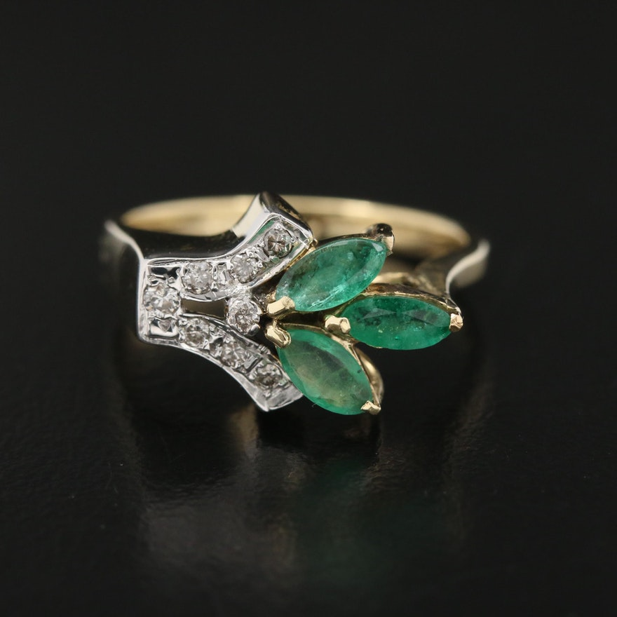 14K Emerald and Diamond Floral Spray Ring