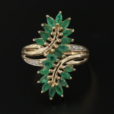 10K Sterling Emerald and Diamond Foliate Ring