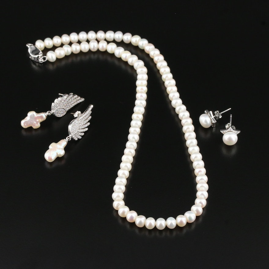 Sterling Silver Pearl and Cubic Zirconia Necklace and Earrings