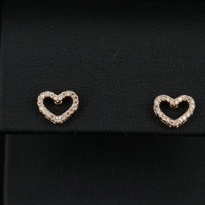 14K Diamond Outlined Heart Stud Earrings