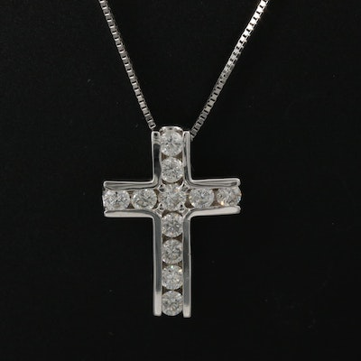 14K Diamond Cross Pendant Necklace