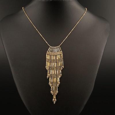 14K Beaded Fringe Necklace