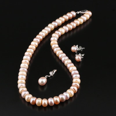 Sterling Silver Cultured Pearl and Cubic Zirconia Necklace and Earrings