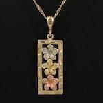 14K Tri-Color Floral Bar Pendant Necklace