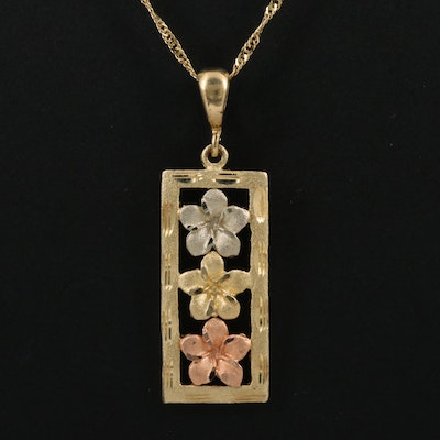 14K Tri-Color Floral Bar Pendant Necklace