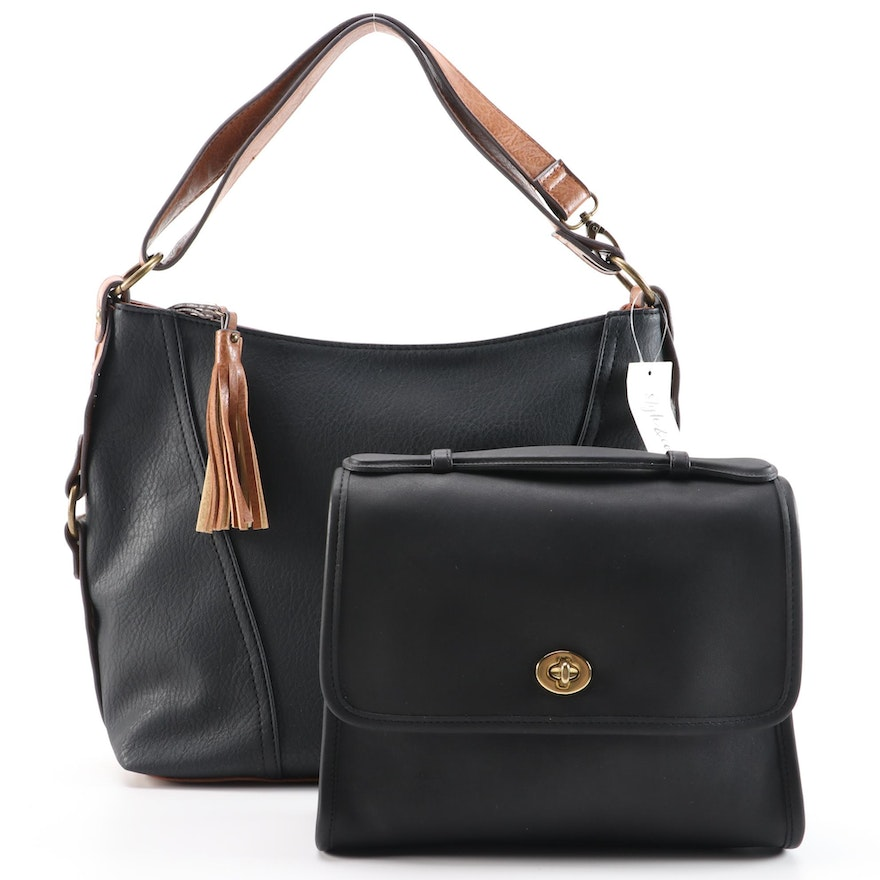 Coach Court Black Leather Bag with Style & Co. Two-Tone Vegan Leather Bag