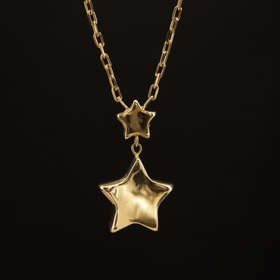 14K Star Pendant Station Necklace
