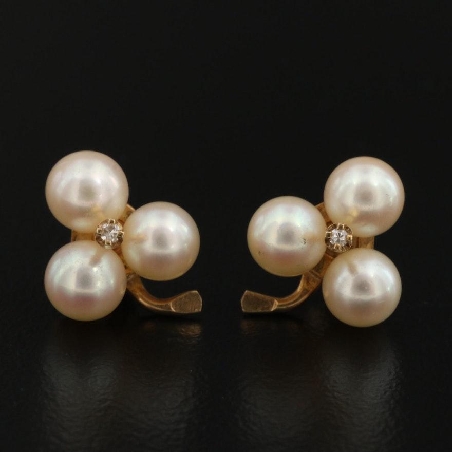 14K Diamond and Pearl Clover Earrings