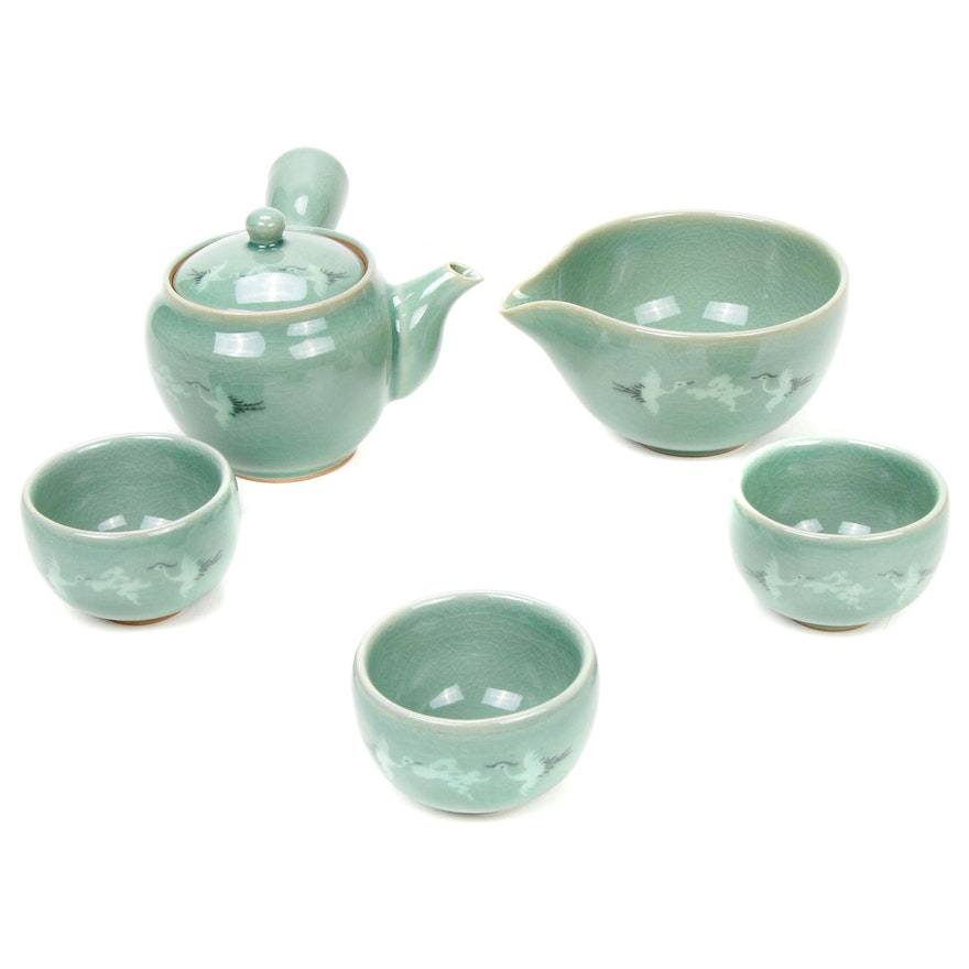 Japanese Ceramic Tea Strainer with Cups and Bowl