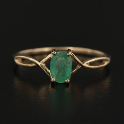 14K Emerald Intertwined Solitaire Ring